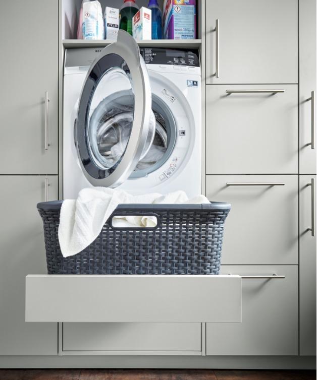 Crystal Grey Utility Furniture with Raised Washing Machine